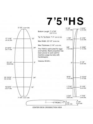 """Pain de mousse MILLENNIUM - 7'5"""" HS 3/16"""" CEDAR"""