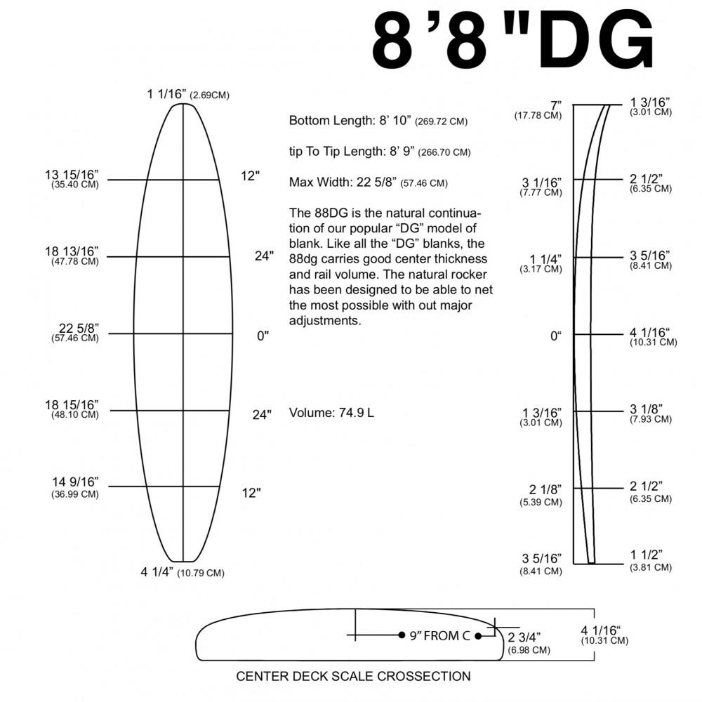 """8'8"""" DG 1/4"""" CEDAR BLUE"""