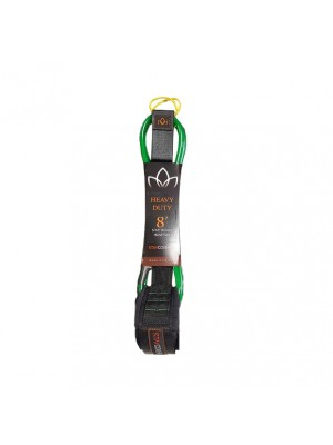 Leash Longboard / Sup STAY COVERED Heavy Duty Hand Tied (8mm) - Green