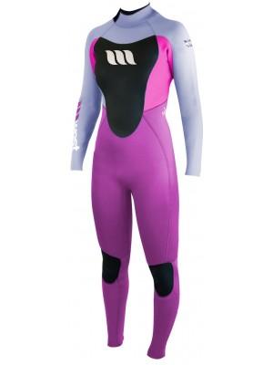Combinaison de surf femme WEST Nitro Lady 4/3mm back zip - Fushia