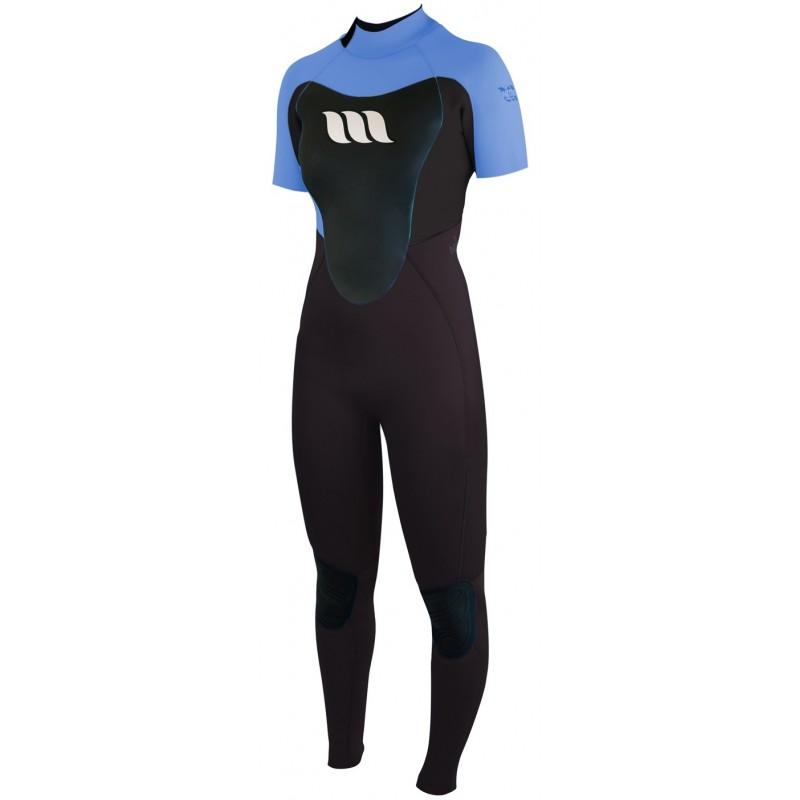 Combinaison de surf femme WEST Nitro Lady manches courtes 2/2mm back zip - Bleu