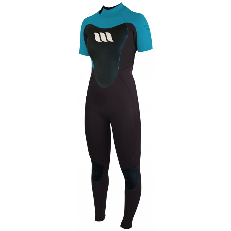 Combinaison de surf femme WEST Nitro Lady manches courtes 2/2mm back zip - Aqua