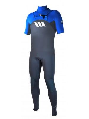 Combinaison de surf WEST Edge manches courtes 2/2mm front zip - Bleu