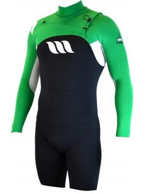 Combinaison de surf WEST Edge Spring Suit manches longues 2/2mm front zip - Noir/Vert