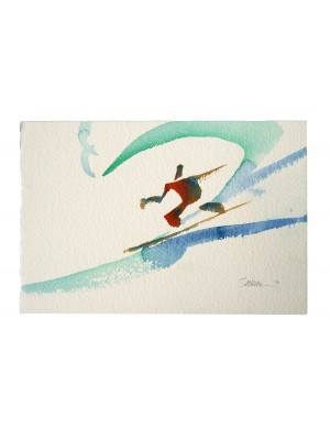 Aquarelle JOHN SEVERSON 'Figure of Surf' original watercolor