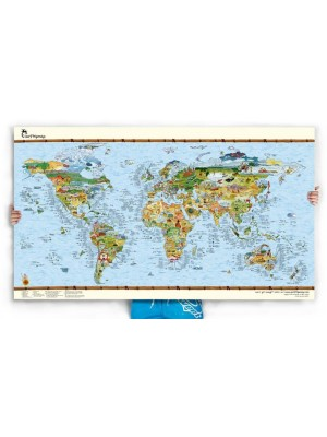Poster Carte du Monde Surf Trip Awesome Map Re-writable