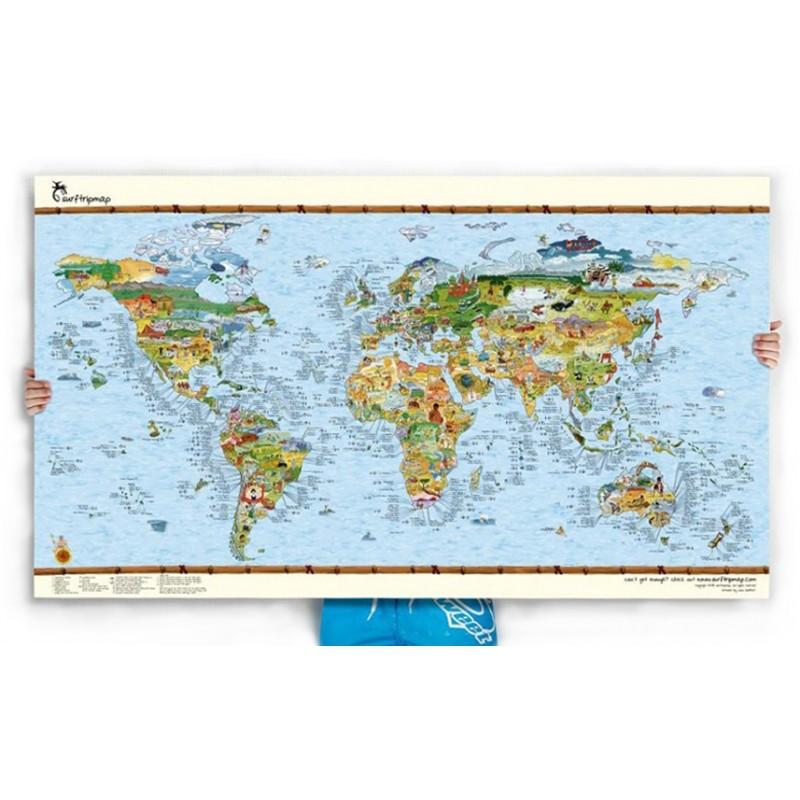 Poster Carte du Monde Surf Trip Awesome Map Re-writable