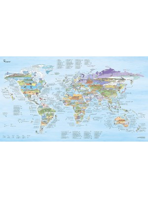 Poster Carte du monde Kitesurf Awesome Map Re-writable