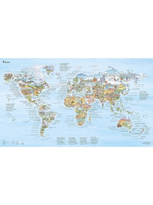 Poster Carte du Monde Hiking Awesome Map Re-writable