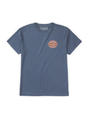 Almond Surfboards - Shop Badge Tee - Washed Blue