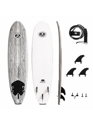 CBC Planche de Surf Mousse - Softboard 7'0 - Wood / White