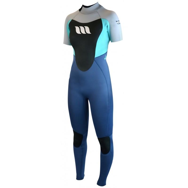 Combinaison de surf femme WEST Nitro Lady manches courtes 2/2mm back zip - Teal