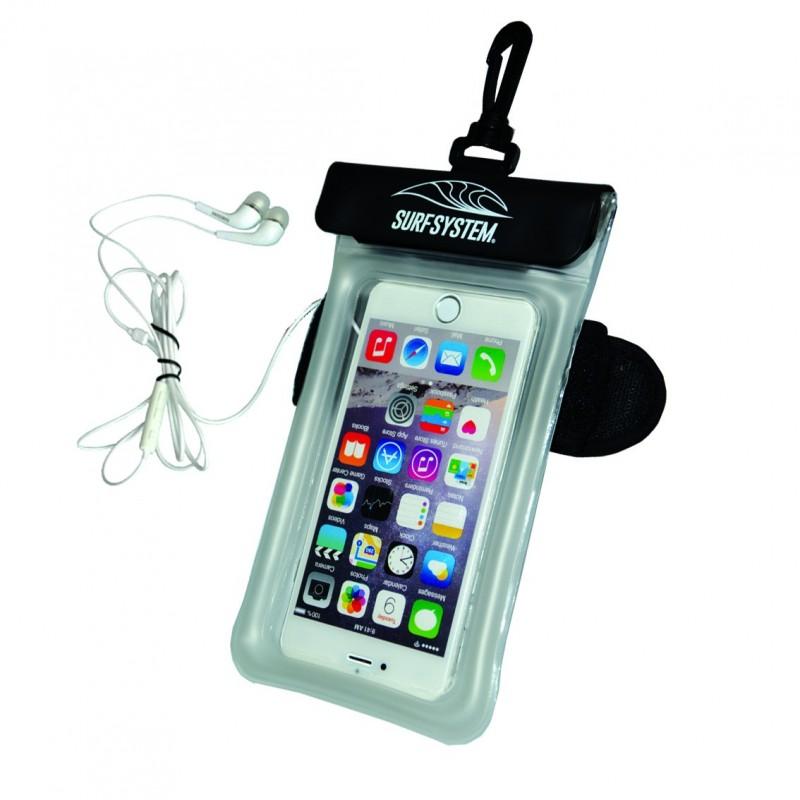 Pochette étanche flottante SURF SYSTEM pour smartphone - Avec prise casque audio et brassard