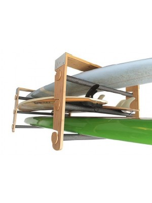 Support plafond modulable CORSURF Roll Rack Wood Shortboards/Longboards/Stand Up Paddle