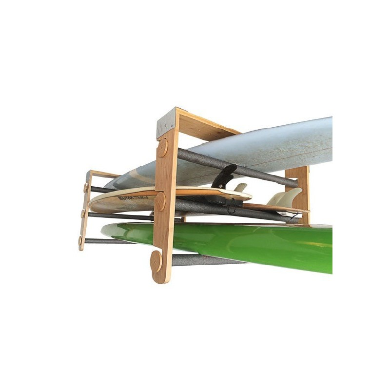 Support plafond modulable CORSURF - Roll Rack Wood Shortboards, Longboards, SUP