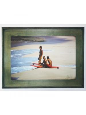 Photographie Surf Vintage JEFF DIVINE 'Herbie Fletcher, Gerry Lopez & Barry Kaniaupuni At Sunset 1971'