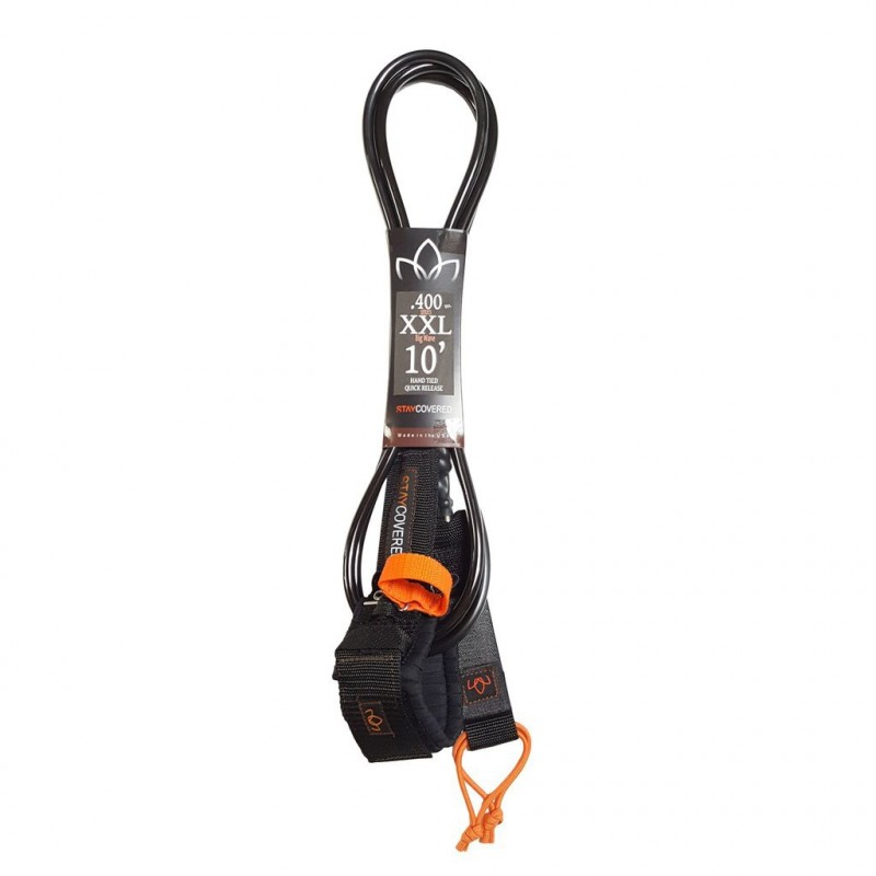 Leash Surf STAY COVERED  XXL Big Wave with Quick Release (10mm) - Black