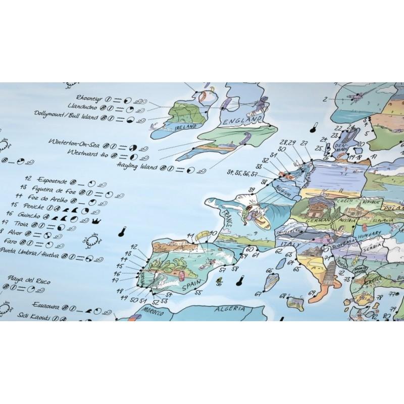 Carte Du Monde Kitesurf.Poster Carte Du Monde Kitesurf Map Re Writable Personnalisable