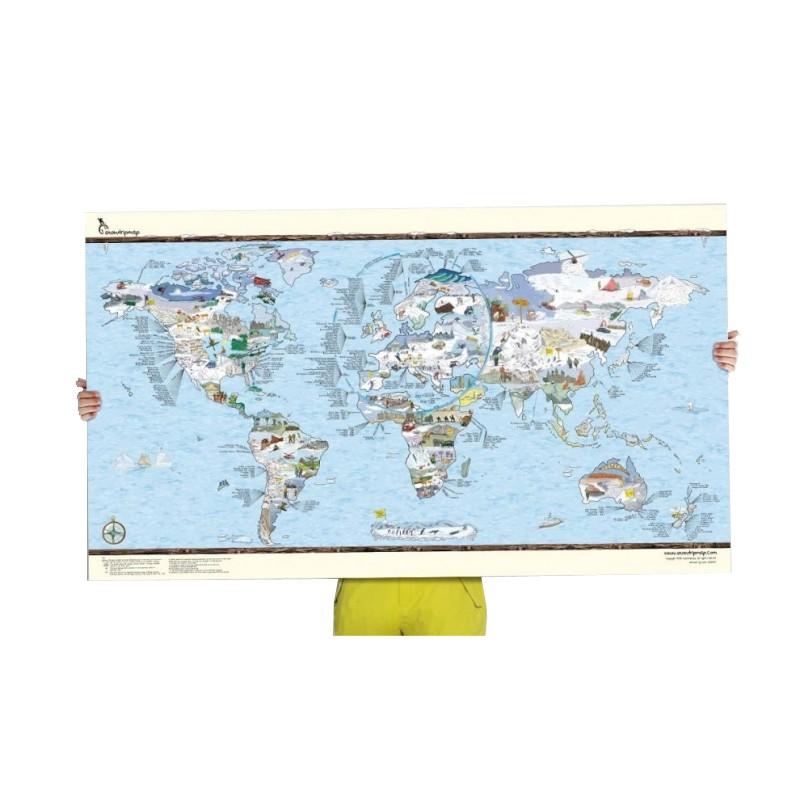 Poster Carte du monde Snow Trip Map re-writable (personnalisable)