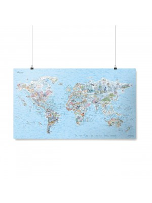 Poster Carte du Monde Dive Awesome Map Re-writable