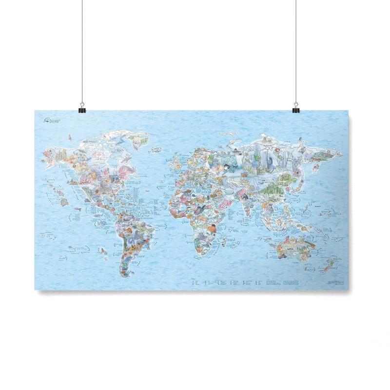 Poster Carte du Monde Dive Map re-writable (personnalisable)