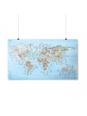 Poster Carte du Monde Climbing Awesome Map Re-writable