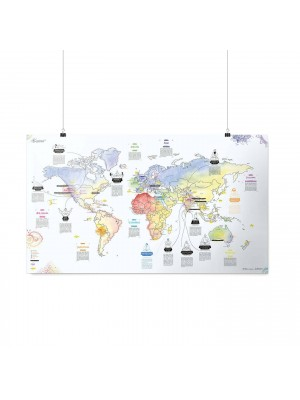 Poster Carte du Monde Yoga Awesome Map Re-writable